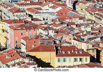 kilátás, képben látható, öreg város, közül, nice-, franciaország