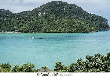 kilátás, képben látható, egy, gyönyörű, tenger, és, paradicsom sziget