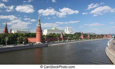 kilátás, képben látható, kreml, alapján, folyó, moszkva,...