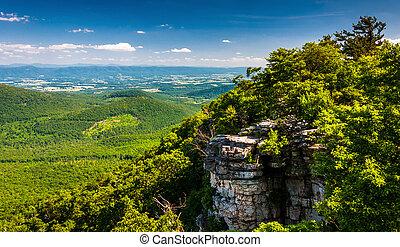 kilátás, közül, a, shenandoah, völgy, és, sziklák, látott,...