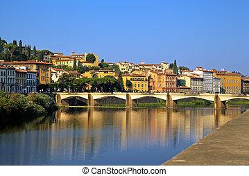 kilátás, közül, arno, river., firenze, olaszország