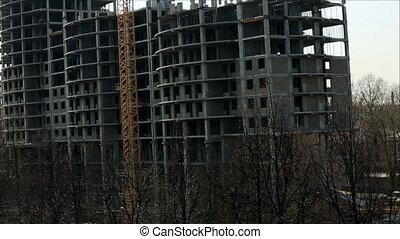 kilátás, közül, bérház, építés alatt