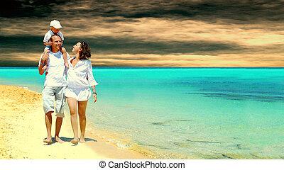 kilátás, közül, boldog, young család, having móka, a parton