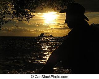kilátás, közül, egy, kedves, napnyugta, tengerpart