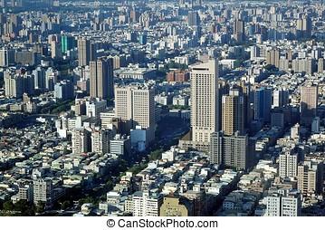 kilátás, közül, egy, tömött, város