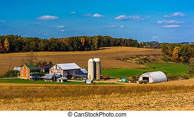 kilátás, közül, egy, tanya, alatt, a, vidéki, vidéki táj, közül, york, megye, pennsylvania.
