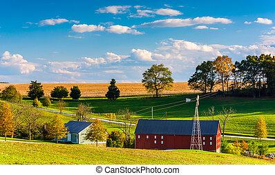 kilátás, közül, egy, tanya, alatt, vidéki, york, megye, pennsylvania.