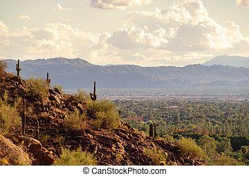 kilátás, közül, főnix madár, és, tempe, alapján, camelback, hegy, alatt, arizona, usa