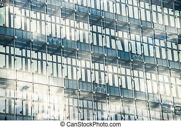 kilátás, közül, felhőkarcoló, windows