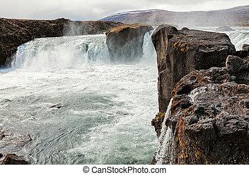 kilátás, közül, godafoss, vízesés, izland