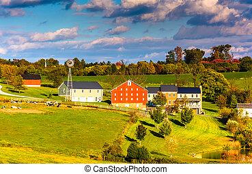 kilátás, közül, istálló, és, épület, képben látható, egy, tanya, alatt, vidéki, york, megye, pennsylvania.