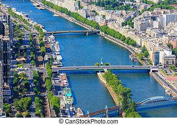 kilátás, közül, párizs, folyó seine, alapján, notre dame cathedral