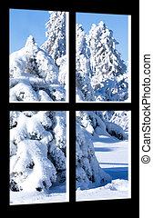 kilátás, közül, tél, megrohamoz, át, paned, ablak