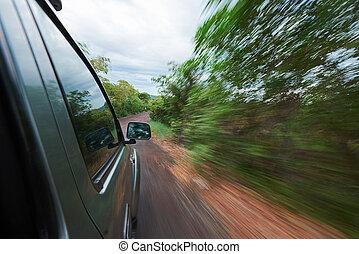 kilátás, lejtő, közül, autó
