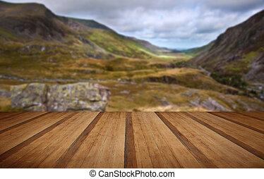 kilátás, mentén, nant, francon, völgy, snowdonia nemzeti...
