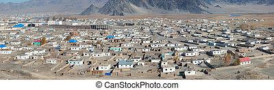 kilátás, mongol, város, tető, közönséges