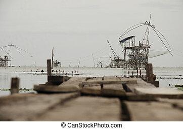 kilátás, táj, közül, halászat, lift, és, lejt behálóz, gép,...