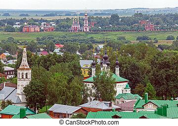 kilátás, város, suzdal, antenna, oroszország
