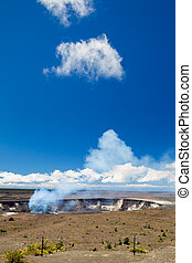Kilauea, Big Island - Volcanic steam rising from the crater...