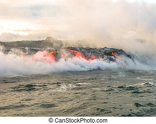 Kilauea Volcano activity - Scenic view from boat in the...