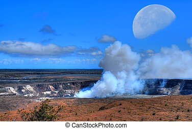 kilauea volcano Moon - kilauea volcano on the big island of...