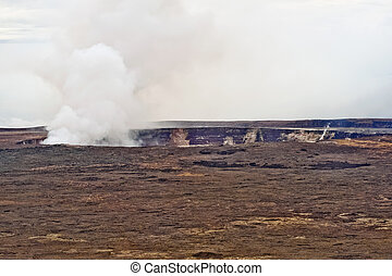 Kilauea Volcano on Big Island of Hawaii - The Halema'uma'u...