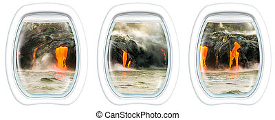 Kilauea Volcano on window - Three plane windows on Kilauea...