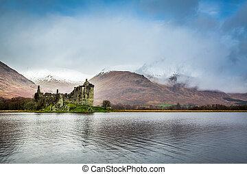 Kilchurn Castle over lake, Scotland