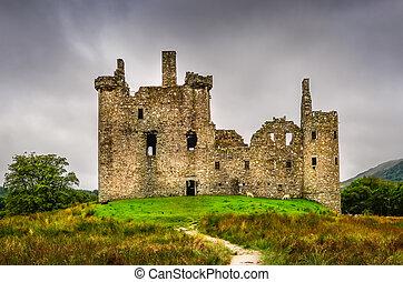 kilchurn, pays montagne, moyen-âge, scénique, écossais, château, vue