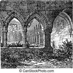 kilconnel, gravura,  galway, claustros, abadia, município, gótico, Irlanda, antigas, arco