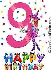 kilencedik, születésnap, karikatúra, tervezés
