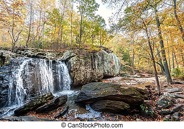 Idyllic waterfall in appalachian mountains in Maryland during Autumn