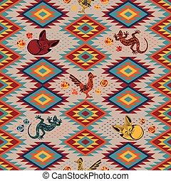 Kilim Ethnic geometric ornament with desert animals. Pattern of bright rhombuses. Greater roadrunner, Fennec fox, lizard