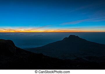 kilimanjaro, top, nacht, zonopkomst