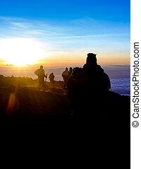 kilimanjaro, trekkers, zonopkomst, top