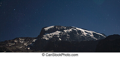 Kilimanjaro view from Machame route under the stars at night