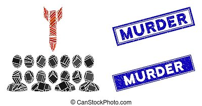 Kill All the People Mosaic and Grunge Rectangle Murder Stamp Seals