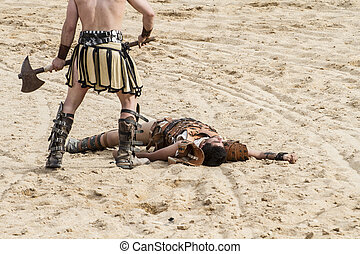 Kill, gladiator fighting in the arena of Roman circus