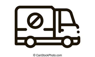 Kill Truck Icon Animation. black Kill Truck animated icon on white background
