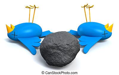 Kill Two Birds With One Stone - Two cartoon style blue birds...