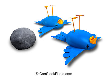 Two cartoon style blue birds with orange beaks apparently dead and belly-up next to a grey stone