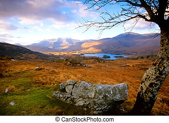 Killarney National Park, Co.Kerry, Ireland, showing Upper Lake surrounded by mountains