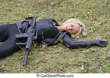 Killed or Shot down - Woman playing dead scene with machine...