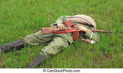 Killed Russian soldiers. Battlefield. The first world war.