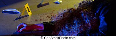Killed woman - panorama - Killed woman lying on the floor -...