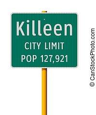 Killeen City Limit road sign