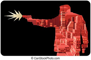Abstract illustration of man shooting with pistol.
