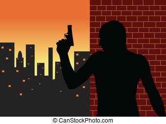 Killer and dusk city - Killer silhouette and dusk city