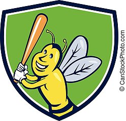Killer Bee Baseball Player Batting Crest Cartoon