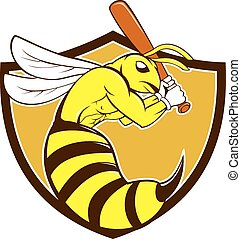 Cartoon style illustration of a kiiller bee baseball player holding bat batting viewed from the side set inside shield, crest, on isolated background.